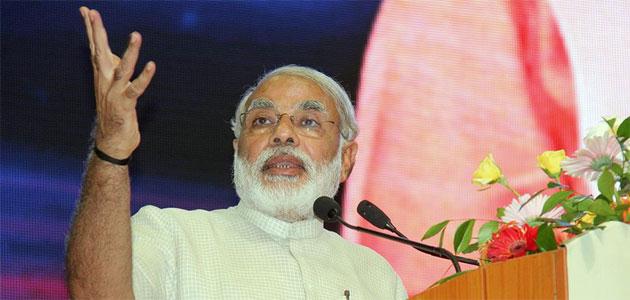 BJP PM candidate Narendra Modi addressing in Delhi