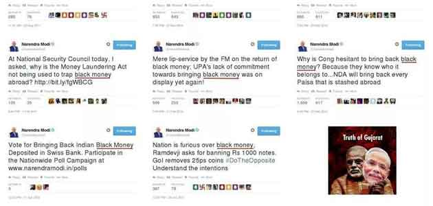 Posters with Narendra Modi's tweets on black money and corruption are making rounds on social media.
