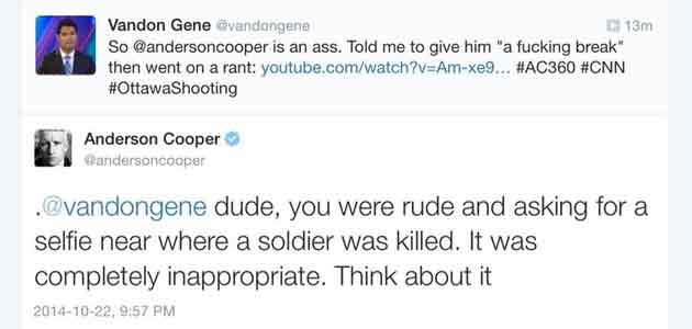 A Sun News contributor got into a verbal altercation with Anderson Cooper of CNN during Canadian Parliament attack.