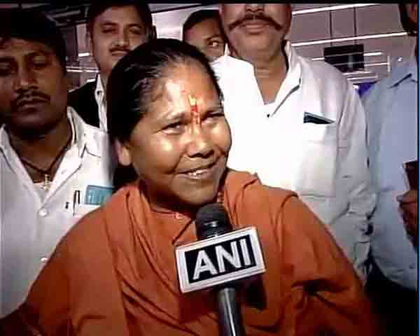 BJP MP Sadhvi Niranjan on her way PM Modi's official residence ahead of the swearing-in ceremony on Sunday.