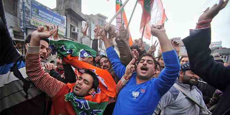 BJP supporters celebrating victory in Jharkhand
