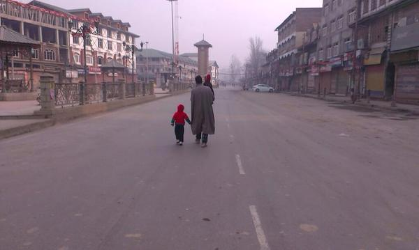 Lal Chowk bore a deserted look in the morning due to unprecedented security.