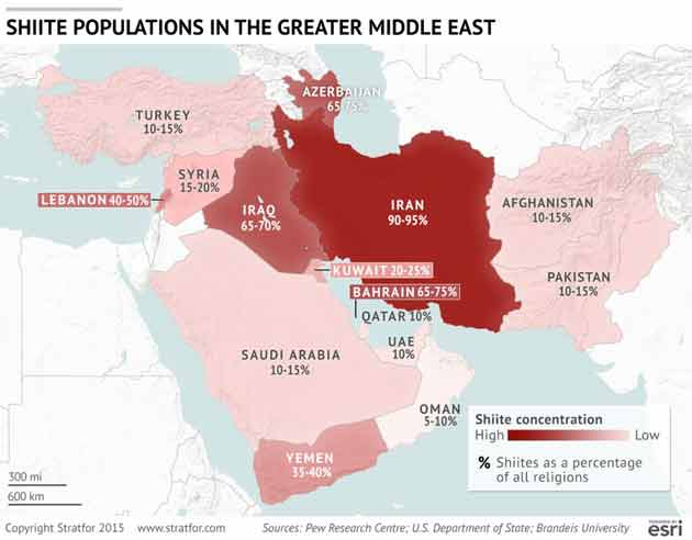Shiite population in the Greater Middle East