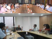 Delhi Dy CM Manish Sisodia holding a meeting at Delhi secretariat.