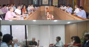 Delhi Dy CM Manish Sisodia holding a meeting at Delhi secretariat.