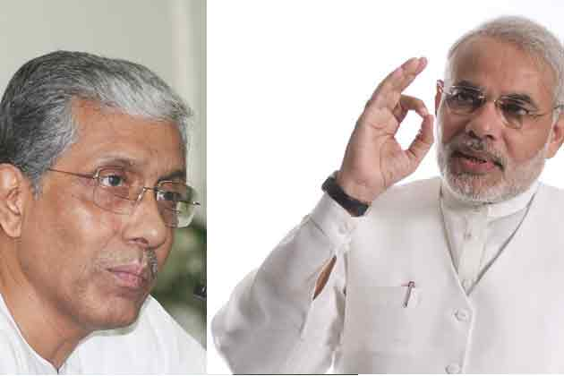 Tripura CM Manik Sarkar met Prime Minister Narendra Modi at New Delhi on Tuesday.